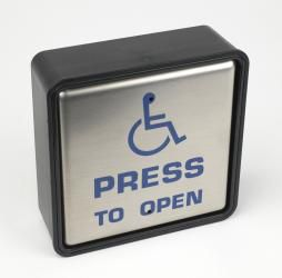 "4.5"" Square Push Pad Wireless ""PRESS TO OPEN"" With Disabled Logo"